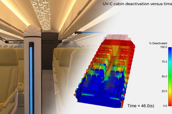[Vidéo] Covid-19 : Ansys simule la désinfection aux UV d'une cabine d'avion par un robot