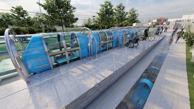 Vue d'artiste d'une station du réseau Urbanloop