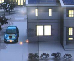 Une illustration de la Leaf de Nissan échangeant de l'énergie avec une habitation.